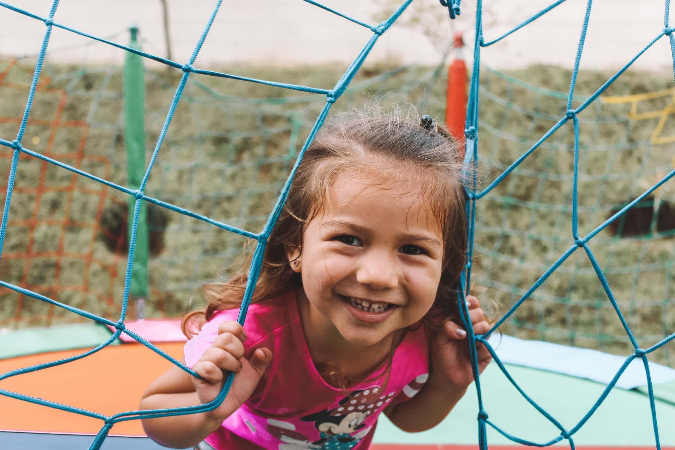 Girl smiling from a climbing frame