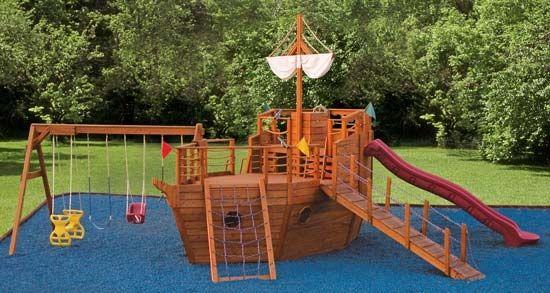 Wooden playground pirate ship