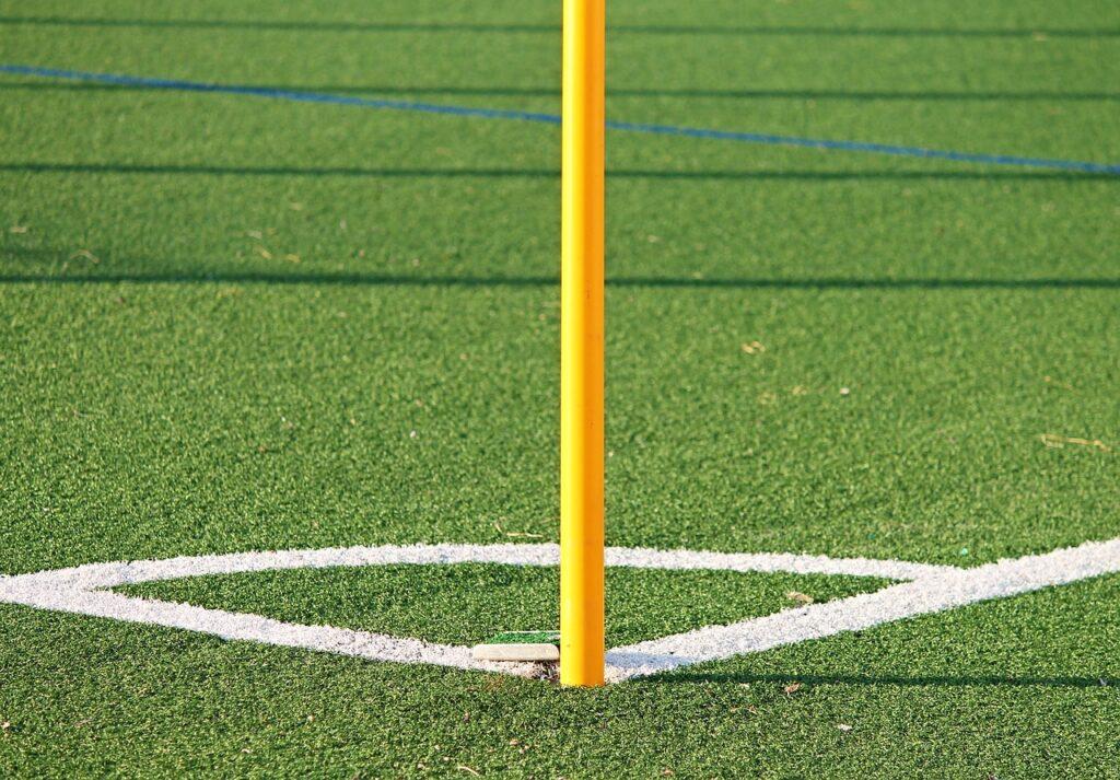 Artificial grass football pitch corner