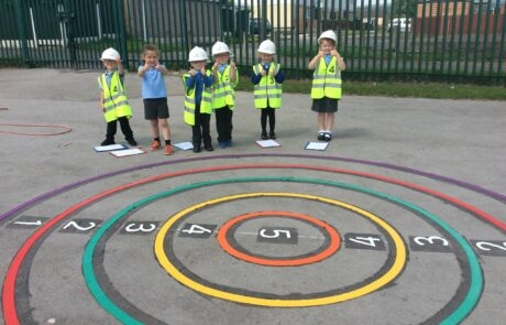 children excited about their new school playground markings